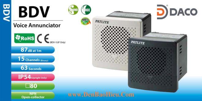 Loa Còi báo hiệu MP3 Patlite, còi buzzer 15 âm báo 87dB, vuông 80mm, IP54, BDV