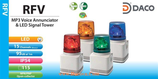 Đèn quay báo hiệu có Loa Patlite Φ100, âm báo ghi âm MP3, 95dB, LED, IP54, RFV