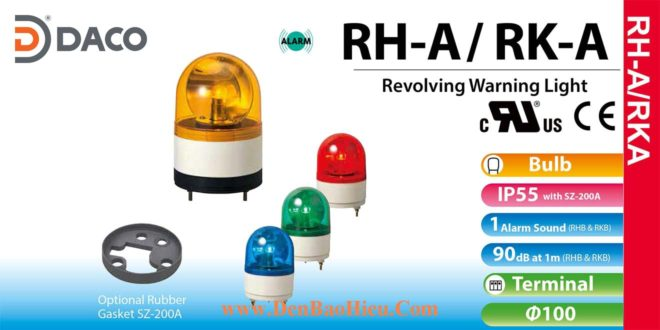 Đèn quay báo hiệu Patlite Φ100, có còi 90dB, bóng sợi đốt, chống rung, IP55, RHB/RKB