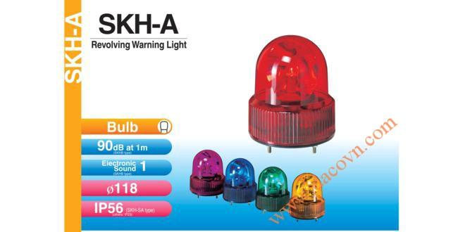 Đèn quay báo hiệu Patlite Φ118, có âm báo 90dB, bóng sợi đốt, chống rung, IP56, SKHB