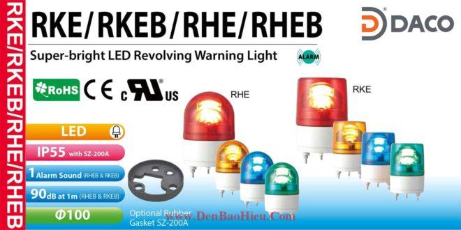 Đèn quay báo hiệu Patlite Φ100, có còi 90dB, bóng LED chip siêu sáng, IP55, RKEB