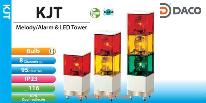 Đèn quay báo hiệu có loa Patlite dạng tháp, vuông 116mm, bóng sợi đốt, 95dB, IP23, KJPV / KJT
