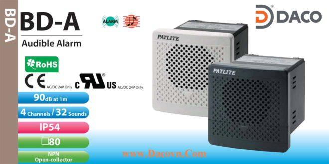 Loa Còi báo hiệu Patlite, còi buzzer 32 âm báo 90dB, vuông 80mm, IP54, BD