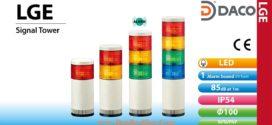 Đèn tháp tầng báo hiệu Patlite LED Φ100 âm báo 85dB nhấp nháy IP54 LGE