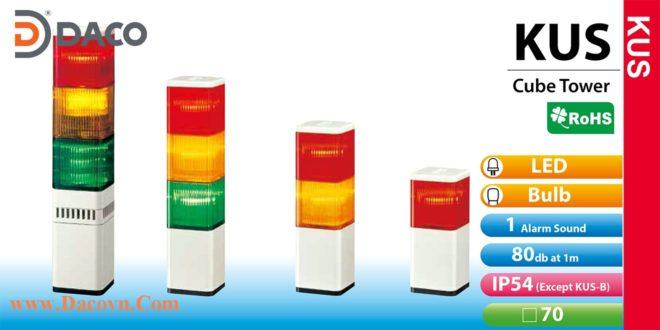 Đèn tháp báo hiệu Patlite vuông 70mm LED/Sợi Đốt, Còi 80dB, Nhấp nháy, KUS/KUS-F