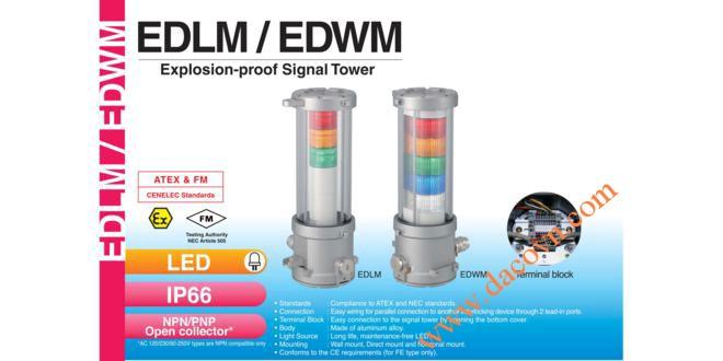 Đèn tháp báo hiệu chống cháy nổ Patlite LED Φ140 IP66 EDLM / EDWM