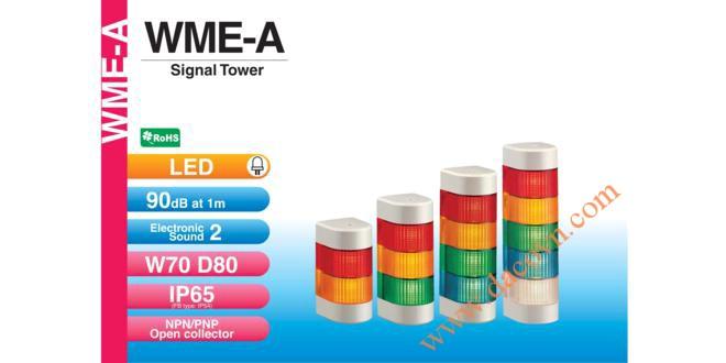 Đèn tháp báo hiệu bán nguyệt trụ Patlite LED Φ70, 2 âm báo 90dB nhấp nháy IP65, WME-A