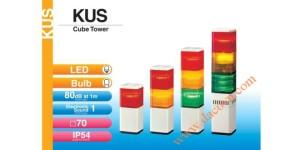 Den thap tang bao hieu tin hieu canh bao Patlite vuông KUS - KUS-F, Đèn tháp báo hiệu Patlite vuông 70mm LED còi 80dB nhấp nháy, KUS/KUS-F