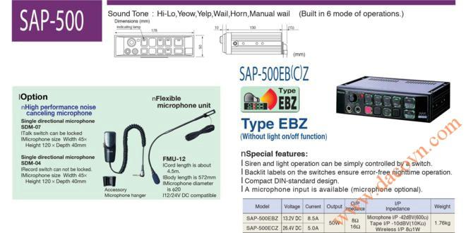 SAP-500EBZ&SAP-500ECZ Bộ tạo chọn tín hiệu còi hú Patlite 50W, 12&24VDC Không có đèn báo chức năng
