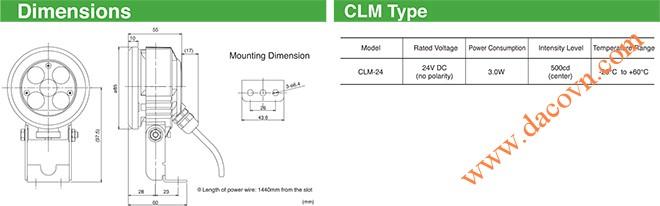 Đèn LED chiếu sáng được thiết kế riêng cho việc chiếu sáng máy công cụ, sản xuất chi tiết cần độ tập trung ánh sáng cao, quá trình xử lý và kiểm tra chi tiết sản phẩm -Cấu tạo: Sử dụng 5 bóng LED siêu sáng -Thân vỏ: Làm bằng vật liệu chống chịu dung môi hóa chất, dầu mỡ, nước -Kính phía trước: Kính cường lực -Kích thước: Φ85 -Điện áp: 24VDC -Công suất: 3W -Cường độ sáng: 500cd -Nhiệt độ hoạt động: -25 ~ +60 oC -Cấp độ bảo vệ: IP67f -Tiêu chuẩn: CE, UL