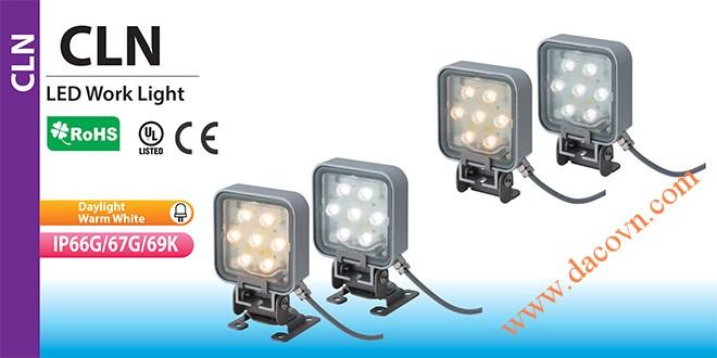 Đèn LED chiếu sáng vuông Patlite CLN chống chịu dung môi hóa chất, dầu mỡ, nước IP69K, 24VDC