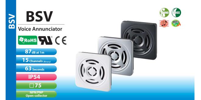 Loa Còi báo hiệu MP3 Patlite, Ghi âm mp3, 15 âm báo 87dB, vuông 75mm, IP54, 12/24VDC, BSV