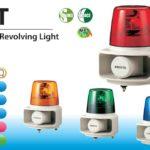 Đèn quay báo hiệu có loa Patlite Φ162, 105dB, ghi âm MP3, 15 kênh, bóng sợi đốt, IP23/IP65, RT-VF