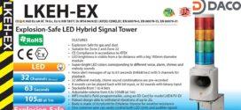 Đèn tháp báo hiệu có Loa Patlite Phòng nổ Φ100, 32 âm báo MP3, 105dB, IP54, LKEH-Ex