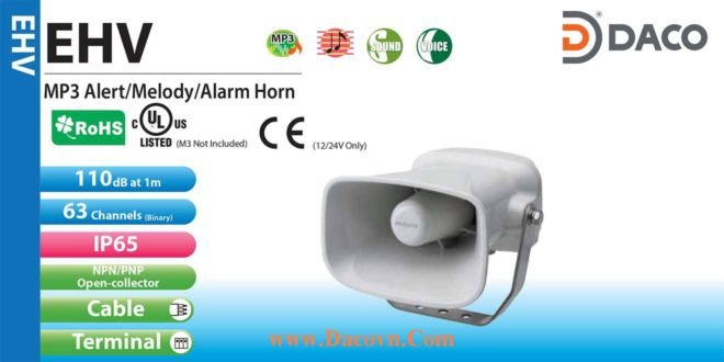 Loa Còi Báo Hiệu Patlite IP65, 63 Âm Báo Ghi Âm MP3, 110dB, EHV
