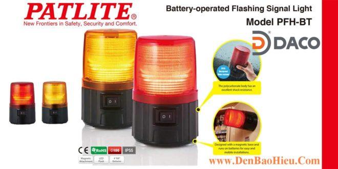 PFH-BT Đèn Báo Patlite Φ100 Bóng LED Nhấy Nháy IP55 Sử Dung Pin, Nam Châm Hút Dính